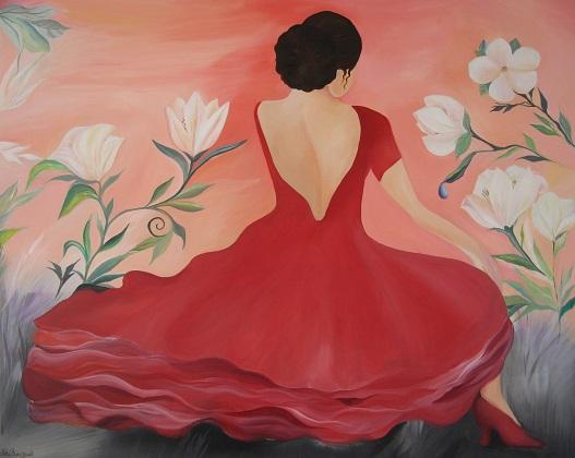 Malerier med flamencodanser 80 x 100 cm Mette Hansgaard maleri danserinde