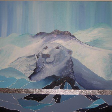 Maleri til salg isbjørn i klippe
