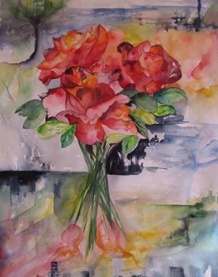 blomster sæson akvarel i glas og ramme