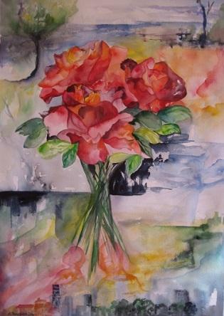 blomster akvarel i glas og ramme
