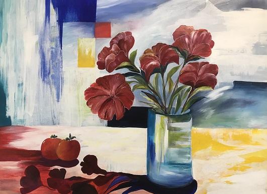 Blomster maleri på lærred akrylmaleri