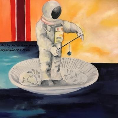Astronaut på tallerken. Små malerier til salg