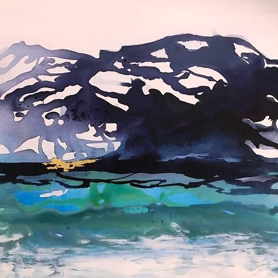 Maleri lille billede i blå farver