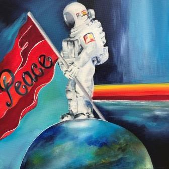 Malerier til salg peace in the world 30 x 30 cm kr. 1.500
