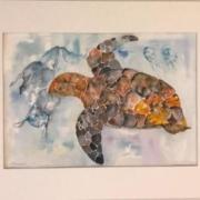 Skildpadde i havet med plastic akvarel