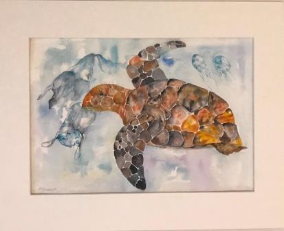Skildpadde i havet med plastic