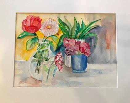 Kunst i glas og ramme. Akvarel på papir blomster
