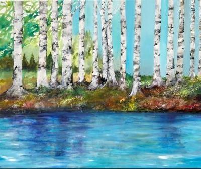 Maleri med birketræer inspireret fra Amager
