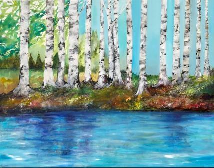 Birketræer inspireret fra Pinseskoven på Amager. Dragør maler Mette Hansgaard har malet en ny serie med landskaber