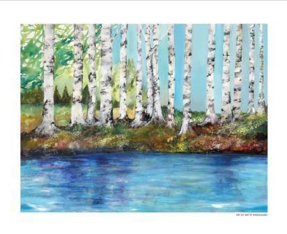 plakater af Mette Hansgaard med birketræer og små fortællinger i træstammer 50 x 40 cm