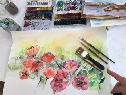 Akvarel kursus blomster og naturbilleder du kan male