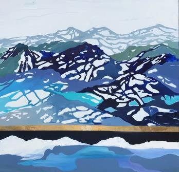 Blå malerier til salg