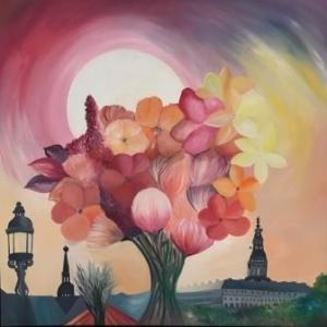 Blomster billeder maleri af blomster og Christiansborg