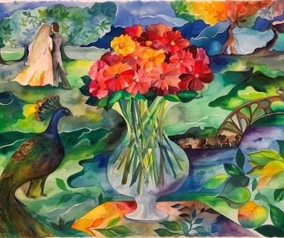 online kunst. Akvarel Frederiksberg have brøndsalen