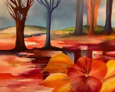 Skovbrynet maleri i fantasifulde farver. Maleri på lærred. Akrylmaleri