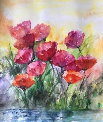 Valmuer 70 x 50 ca. akvarel på papir