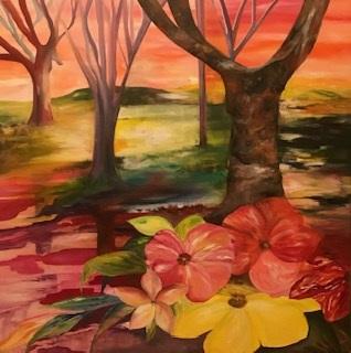 Maleri figurativ skov med fantasi