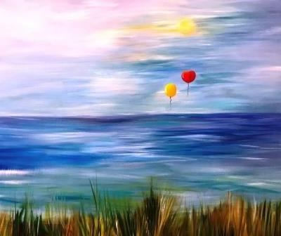 Maleri hav landskabsmaler