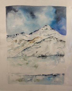 Vinter akvarel landskab af Mette Hansgaard