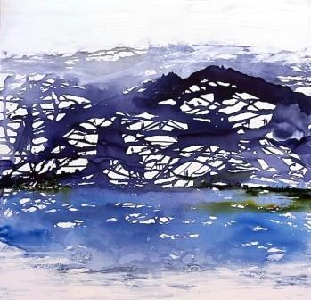 Blå malerier i abstrakt stil
