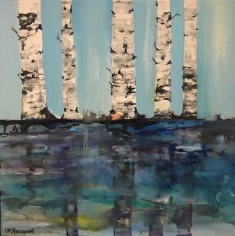 Malleri landskabsmaleri med birketræer og vand