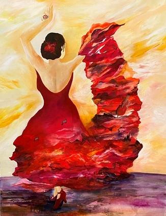 Spansk flamencodanser maleri