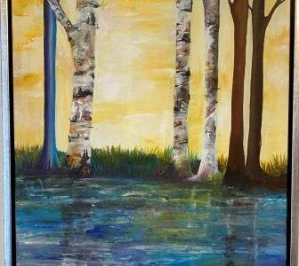 Maleri solen i skoven