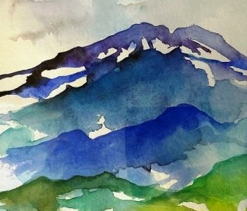 Motiv med bjerge malet som akvarel