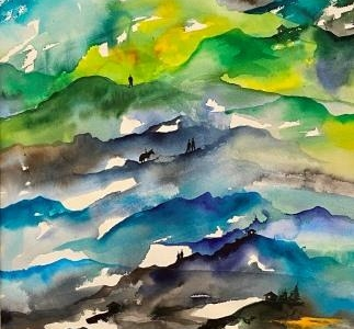 Akvarel maleri kunst malet på papir